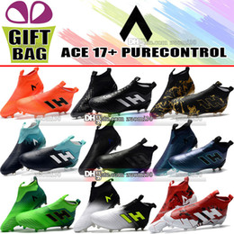 Wholesale media control - Original High Ankle Football Boots Leather ACE 17 Purecontrol FG Laceless Soccer Shoes Outdoor ACE 17 Pure Control Socks Soccer Cleats Cheap