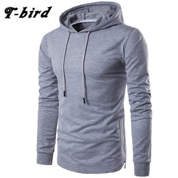 Wholesale Birds Tshirt - T-Bird Brand High Quality Men'S Tshirt 2017 Solid Hooded Long Sleeve T-Shirts Mens Casual T Shirt Cotton O-Neck Men T-Shirt XXL