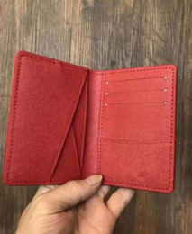 Wholesale Purses Bags Wallets - Excellent Quality Pocket Organizer NM damier red men and women Real leather passport wallets card holder N63144 purse id wallet bifold bags