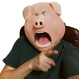 maschera di maiale adulta Sconti 2017 Nuova Maschera Personalizzata Cute Pig Emulsioni Maschere Halloween Adulto Dance Horror Head Set Party Decorating Funny Face Mask