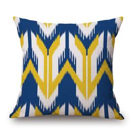 Cuscini plaid blu online-vendita all'ingrosso geometrica plaid cuscino a strisce ondulate copre stile moderno blu e giallo spessa biancheria in cotone cuscino copre 45x45 cm arredamento camera da letto