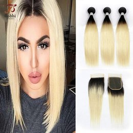 Wholesale Colored Brazilian Hair Weave - Ombre T 1b 613 Dark Roots Blonde Hair Colored Brazilian Extensions Straight Hair 3 Bundles with Lace Closure Virgin Human Hair Weave