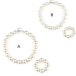 beaded girls necklace bracelet Coupons - Girls Acrylic Pearls bead necklace 2pc set 20mm beaded necklace 41.5cm+bracelet pure white kids arylic jewelry sets for party performance