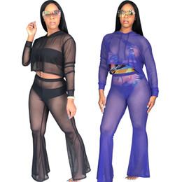 2a4041cdce765 Women sheer clubwear two piece set leggings hoody crop top mesh casual suit  tights long sleeve shirt hoodies pants night club outfits DHL