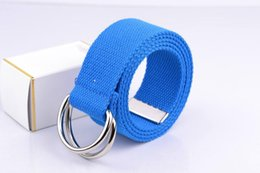 Wholesale Leather Belt Metal Rings - Wholesale-2015 New Fashion Candy Color Mens Womens Unisex Solid Color Webbing Cotton Canvas Belt With Metal Double D-Ring Buckle