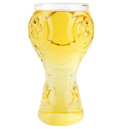 Wholesale Glasses For Cocktails - 2018 World Cup Russia Design Champions Cup Shape 400ml Glass Beer Mug Stein Cocktails Juice Cup for Home Restaurant Bar Party