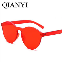 Wholesale Yellow Glass Candy - womens sunglasses brand designer Women Fashion Cat Eye Shades Sunglasses Integrated UV Candy Colored Glasses oculos High Quality