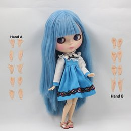 Wholesale Change Hair - Free shipping factory blyth doll long straight blue hair with bangs fringes joint doll 230BL2749 color will change when Temp <15