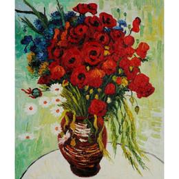 pintura da mão da arte famosa Desconto Famoso Vincent Van Gogh pinturas a óleo reprodução pintado à mão vaso com margaridas e papoulas lona arte