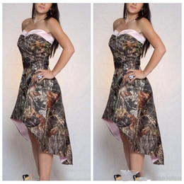 Wholesale Online Size Chart - 2018 A Line High Low Camo Bridesmaid Dresses Short Customized Formal Vestidos De Bridesmaid Cheap Online Camouflage Honor Of Maid