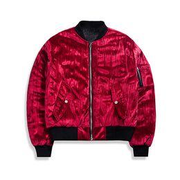 casaco de veludo homem curto Desconto Huation Hip Hop Masculino Streetwear Bomber Jacket Homens Casaco De Veludo De Glitter Jaqueta Masculina Kanye West Estilo Punk Fino Casacos Curtos