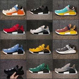 Wholesale Ink Cheap - 2018 NMD Human Race Pharrell Williams Hu trail NERD Men Womens Running Shoes NMD noble ink core Black Red sports Shoes Cheap Sneakers
