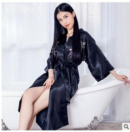 Wholesale Japanese Floral Shirts - Womens Nightgowns & Sleepshirts Embroidered Long Section Japanese-Style National Sleeping Clothes Female Sleeping Dress G4