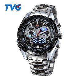Wholesale Tvg Steel Watch - TVG Brand Luxury Stainless Steel Clock Digital Sports LED Watch Men 30M Dual Movements Waterproof Watches Relogio Masculino