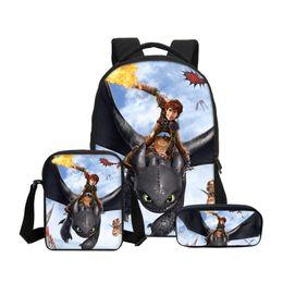 Disegno del sacchetto di scuola dei ragazzi online-Fashion Customized 3Pcs / Set Bookbag per la scuola con borse a tracolla Pencil Pouch Design Come addestrare il tuo drago Stampa Zaini per ragazzi