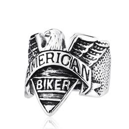 Wholesale Motor Jewelry - Wholesale Skull Biker Ring Stainless Steel Jewelry Classic Punk American Motor Biker Skull Ring Men Eagle Ring