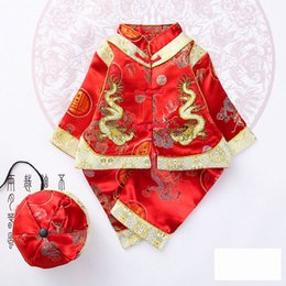 Китайский дракон год онлайн-Kids Girls Embroidery Dragon Pattern Tang Suit Chinese Traditional Lucky Costumes Set for Newborn Baby Boys New Year with Cap