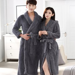 3b30b5371f On Sale Lovers Thick Warm Winter Bathrobe Men Soft as Silk Extra Long Kimono  Bath Robe Male Dressing Gown for Mens Flannel Robes