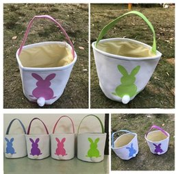Wholesale Cotton Storage Basket - Burlap Easter Baskets DIY Rabbit Bags Bunny Storage Bag INS Easter Gift Handbag Rabbit Ears Put Easter Eggs Basket Cute A08