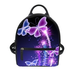 Sacs à dos violet en Ligne-FORUDESIGNS Purple Butterfly Small BackpacWomen Travel Sac à dos causal Sac à dos en cuir scolaire à bandoulière Double usage Dropshiping