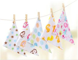 Wholesale Pure Blends - Baby practical Cartoon Printing Baby Burp Cloths Pure Cotton Infant Bibs Toddler Mouth Water Towel Many Styles