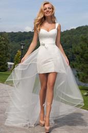 Canada Robe de mariée courte en dentelle à bretelles avec jupe amovible Robe de mariée haute basse pays corset Offre