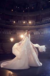 Wholesale elie wedding - Elie Saab Wedding Dresses A Line Jewel Neck Sweep Train Lace Tulle Applique Beach Wedding Gowns Backless Long Sleeve Bridal Dress