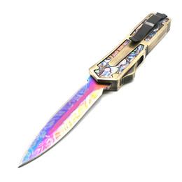 Abulón escarabajo online-scarab gold Abalone pattern handle 9 modelos blade doble acción táctica autodefensa plegable edc cuchillo camping cuchillo caza cuchillos