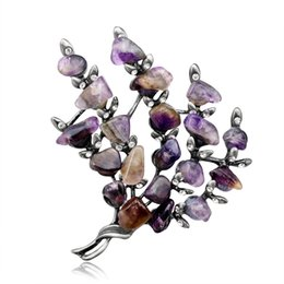 Wholesale purple scarf jewelry - Purple Stone Shiny Rhinestone Branch Style Brooch Pin Scarf Hat Jewelry Gift