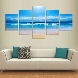 Wholesale White Beach Painting - Original New Home Decor Art HD Print Landscape Oil Painting Wall Decor Art on Canvas, YF62.Beach white clouds sea 5PC Unframed