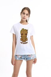 Wholesale Funny Baby Shirts - Guardians of the Galaxy 2 Women t-shirt Anime baby pop groot Summer funny I AM GROOT T Shirt Female Cool Tops Tee