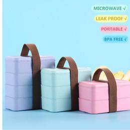 boîtes à lunch japonais Promotion Micro-ondes boîte à lunch alimentaire conteneur de stockage japonais paille de blé étanche boîte à bento portable pique-nique KKA5698