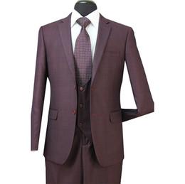 Wholesale Plaid Suits For Men - 2018 New 3PCS Grooms Men Tuxedos Formal Suits For Weddings Slim Plaid Best Mens Suits (Jacket+Vest+Pants) ST005