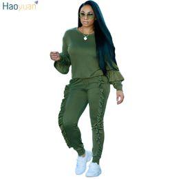 Wholesale Women Yellow Blazers - HAOYUAN 2 Piece Set Women 2018 Autumn Winter Sweatsuit Long Sleeve Ruffle Top+Pants Track Suits Casual Tracksuits Two Piece Set