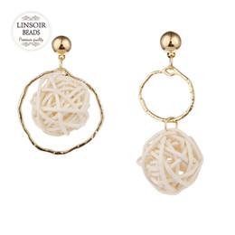 orecchini pendenti a sfera Sconti Fashion Drop Earrings Rattan Ball Irregolarità Orecchini per le donne Hanging Ciondola Drop Ear Modern Jewelry