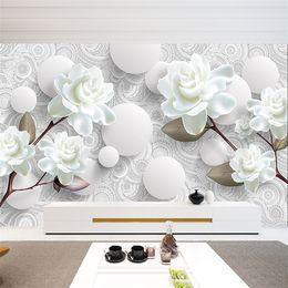 Wholesale custom wedding backdrops - Custom 3D Stereoscopic Mural Wallpaper European Fashion Beautiful White Peony Bedroom TV Backdrop Wall Paper Modern Home Decor