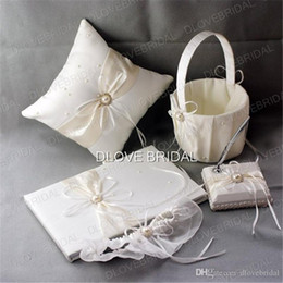 Wholesale Ivory Wedding Ring Pillow Sets - High Quality Wedding Supplies Ivory Satin Bridal Favors Set Ring Pillow Flower Girl Basket Guest Book Sign Pen Container Garter Real Photo