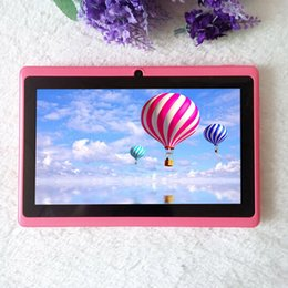 Wholesale Ram 512mb - Q88 7 inch A33 Quad Core Tablet Allwinner Android 4.4 KitKat Capacitive 1.5GHz 512MB RAM 4GB ROM WIFI Dual Camera Flashlight