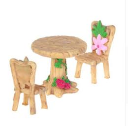 OOTDTY tavolo e sedie in resina resina micro giardino vaso vasi decorazione mestiere impermeabile bonsai per Garden House cheap miniature house plants da piante in miniatura fornitori