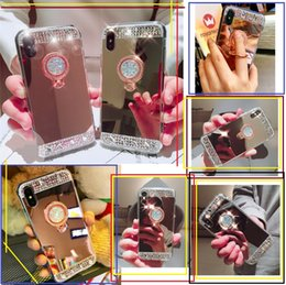 Wholesale premium silicone - Premium Phone Cases For iPhone X 8 Plus 7 6S Samsung Galaxy S8 S9 Plus Note 8 Bling Rhinestone Glitter Ring Holder Kickstand Mirror Cover