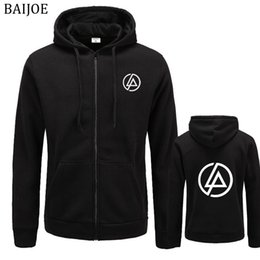 standard park Australia - BAIJOE Linkin Park Letter Printed Hoodie Men Hip Hop Fleece Long Sleeve Rock Men's Sweatshirt Winter Hoodies Jacket Free Shippi
