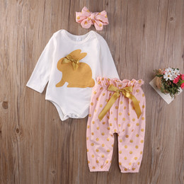 Wholesale 12 Month Girl Winter Clothes - Cute Baby Girls Clothing Sets Long Sleeve Tops Playsuit Pants Headband Outfit Set 3Pcs Newborn Infant Baby Girls Outfits Set