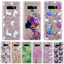 Wholesale Note Cartoon Covers - for samsung galaxy s8 case Cute cartoon panda unicorn animal clear crystal cover for samsung note 8 s8 plus case