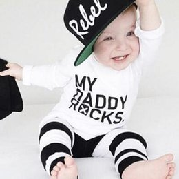Wholesale daddy baby clothes - Cool INS Baby Boy clothing Letters My Daddy Rocks Long sleeve T-shirt Tops +Pants Outfits Set 2018 Spring Gifts for kids baby