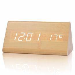 Wholesale Display Desk - Wood Wooden Digital LED Alarm Clock Sound Control Desktop Clocks with Temperature Electronic LED Display Desk Clock Home Decor Gifts