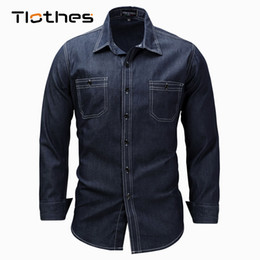 599fa1fbc84 Plus Size XXXL Lapel Shirt Men Clothes 2018 Denim Shirt Washed Work Fake  Pockets Long Sleeve Button Down Jeans Shirts Male
