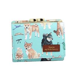 Bolsas para perros online-Las mujeres del diseñador de lujo del monedero del embrague monedero de la PU de cuero patrón lindo del perro señoras carteras cortas mujeres titular de la tarjeta de crédito monederos bolsa
