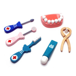 Wholesale Medicine Baby - 6Pcs set Baby Toys Wooden Pretend Play Doctor Set Toy Play Dental Dentist Tools Simulation Medicine Box Toothbrush Medical Kits