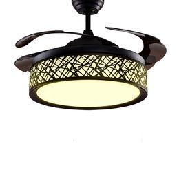 Canada Moderne LED Plafond Ventilateur Lumières Lampes Timing Télécommande Fréquence Conversion Moteur Lustre Lumière Pendentif Lampe Éclairage Invisible cheap remote led pendant Offre