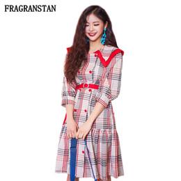 Vestidos de boneca vintage on-line-2018 mulheres primavera verão new doll collar vestidos de moda feminina lattice do vintage vestido de alta qualidade meia manga dress jq531